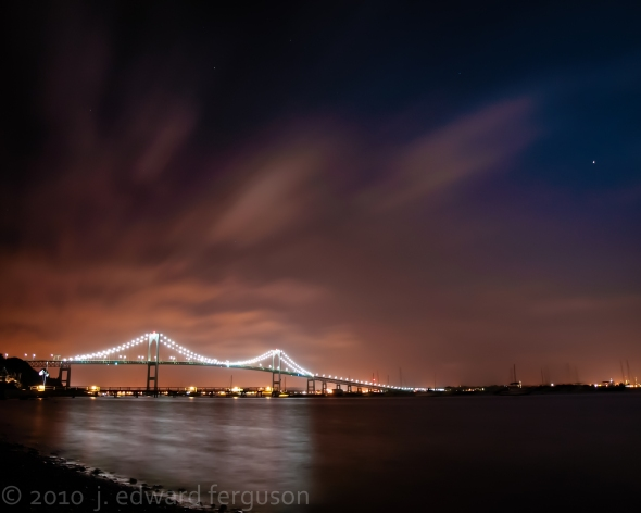 A View of the Claiborne Pell Bridge in Jamestown, RI at midnight.